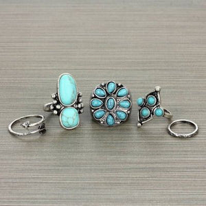 5 Peice Turquoise Flower Ring Set - The Blue Attic