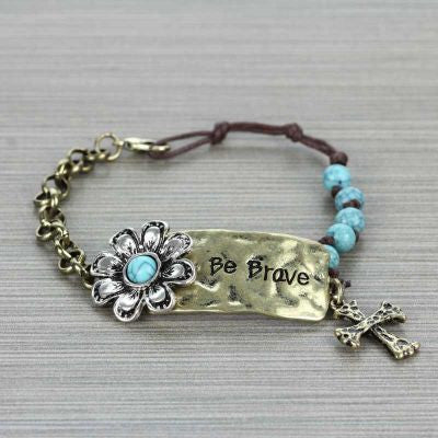 """Be Brave"" Flower Bracelet - The Blue Attic"