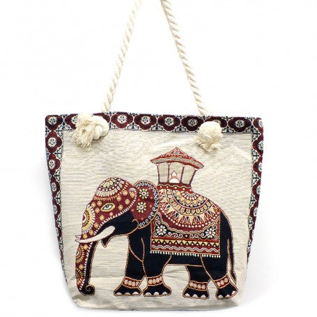 Boho Elephant Canvas Bag - The Blue Attic