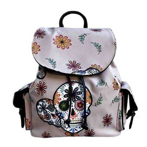 Floral Sugar Skull Leatherette Backpack - The Blue Attic