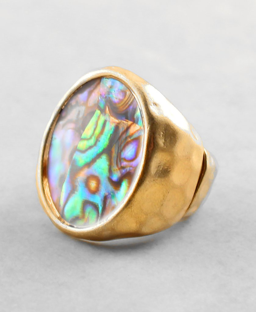 Shell Cocktail Stretch Ring - The Blue Attic