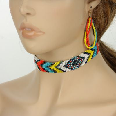 Aztec Seed Bead Choker Set - The Blue Attic