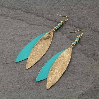 Leather Two Feathers Fish Hook Earrings - The Blue Attic