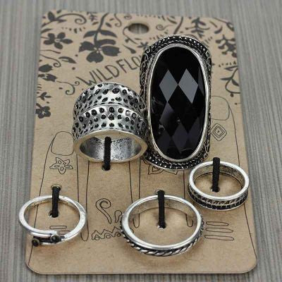 Black Stone 5 Piece Ring Set - The Blue Attic