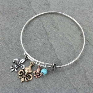 Fleur De Lis Bangle Charm Bracelet - The Blue Attic