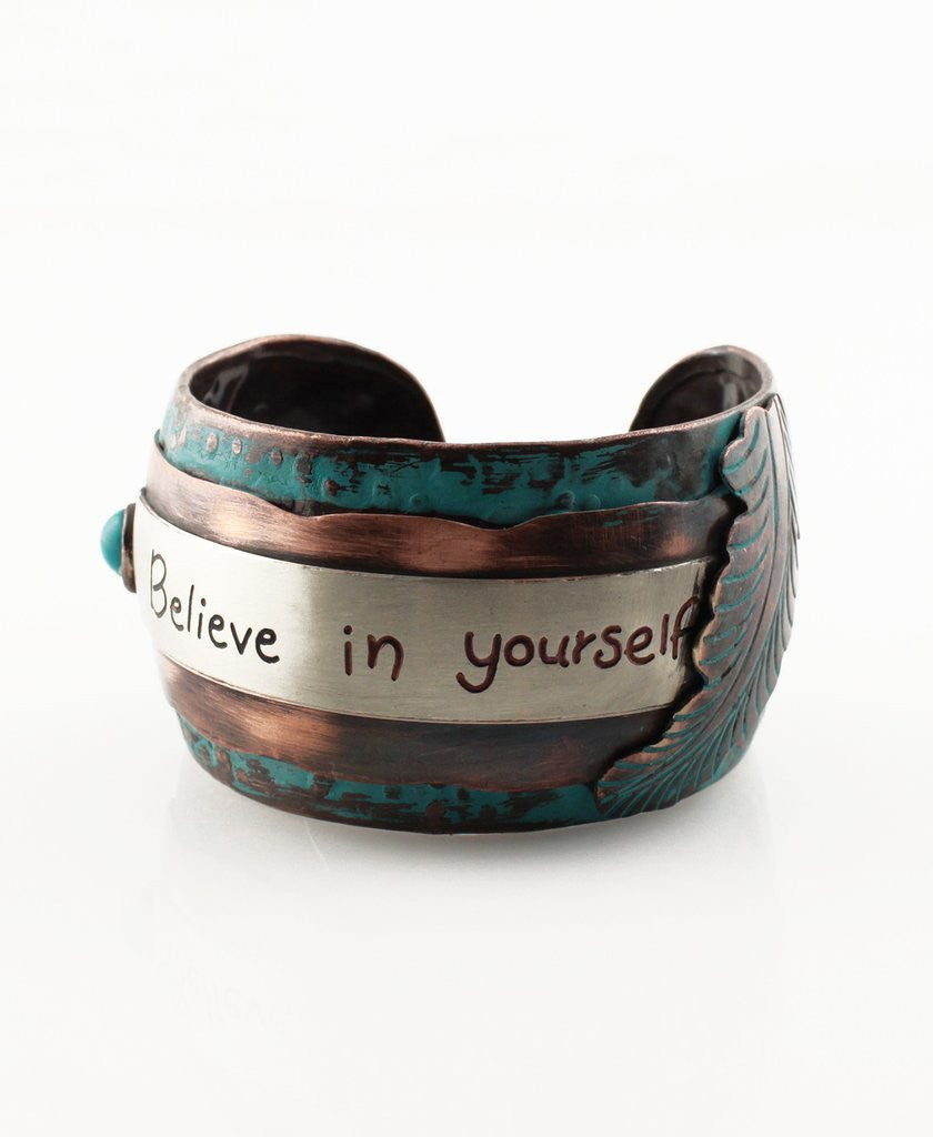 """Believe In Yourself"" Metal Cuff Bracelet - The Blue Attic"