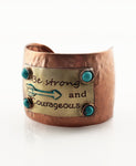 """Be strong and Courageous"" Cuff Bracelet - The Blue Attic"