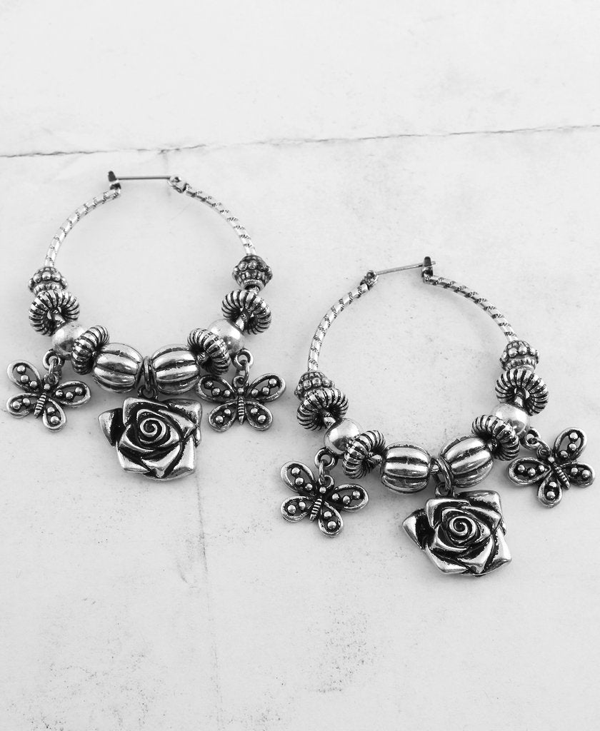 Roses & Butterflies Hoop Earrings - The Blue Attic