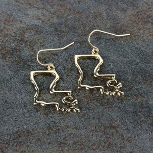 Louisiana Map Fishhook Earrings - The Blue Attic