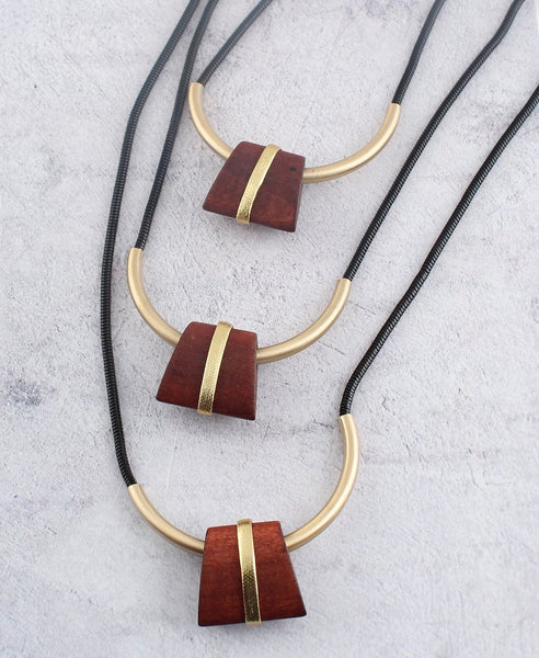 Long Wood Tier Necklace Set