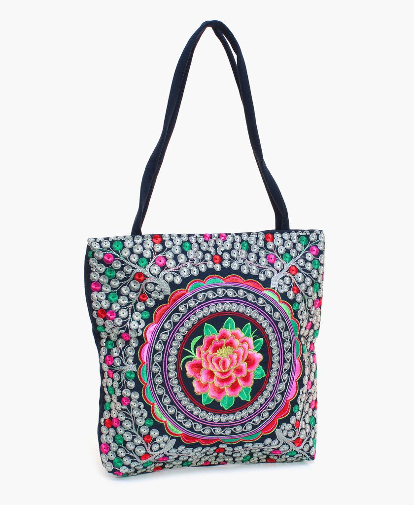 Flower Hmong Canvas Tote - The Blue Attic