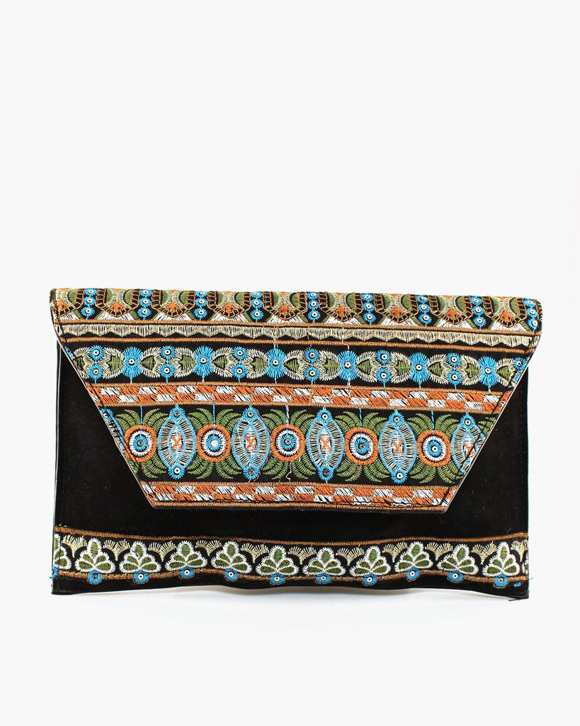 Multi Color Stitch Embroidery Clutch - The Blue Attic