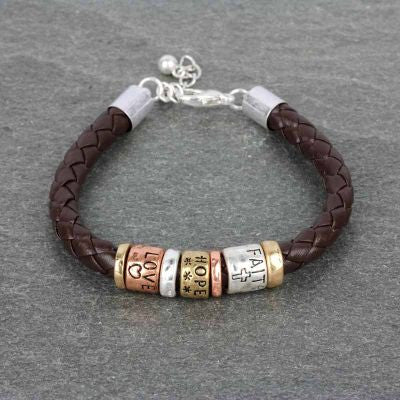 Burnished Leather Message Bracelet - The Blue Attic