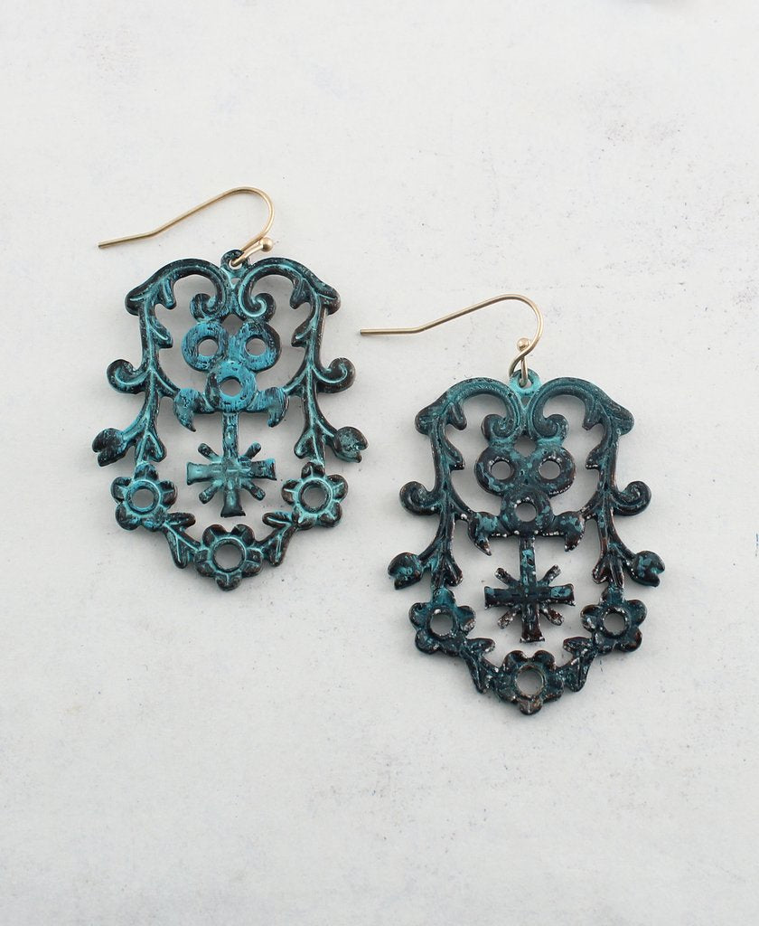 Antique Rustic Metal Earrings - The Blue Attic