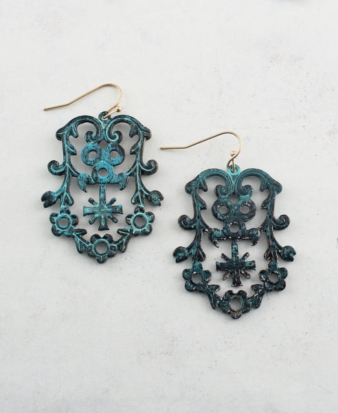 Antique Rustic Metal Earrings