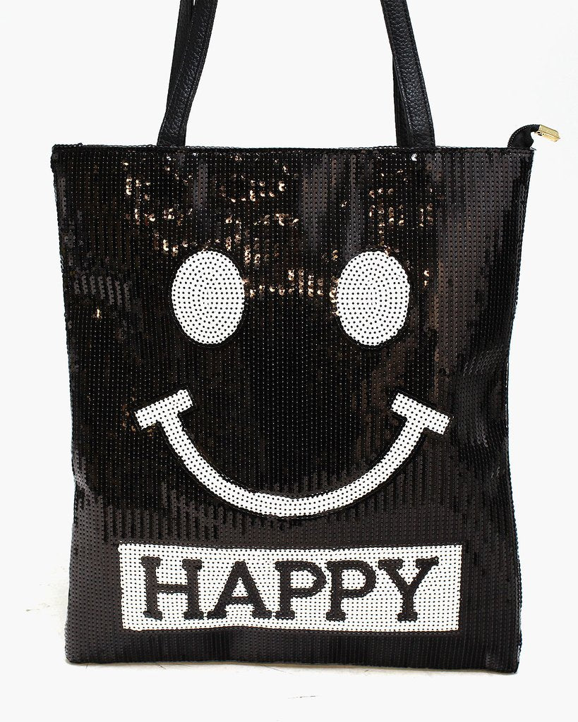 "Sequined ""HAPPY"" Shoulder Bag - The Blue Attic"
