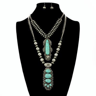 Navajo Pearl Stone Necklace Set - The Blue Attic