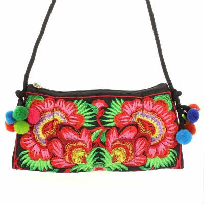 Embroidered Flower Clutch Bag - The Blue Attic
