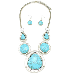 Large Stone Accent Fashion Necklace - The Blue Attic