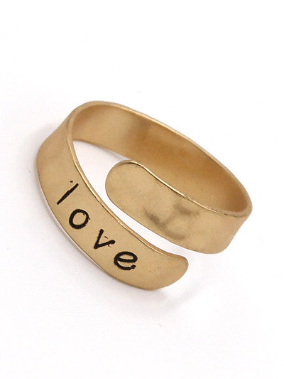 """Love"" Inspirational Brass Ring - The Blue Attic"