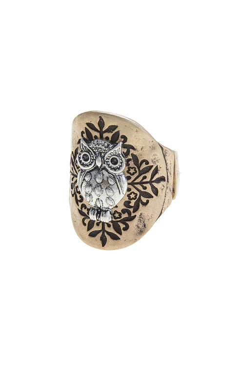 Owl Etched Pendant Ring - The Blue Attic