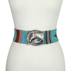 Western Horse Seed Bead Belt - The Blue Attic