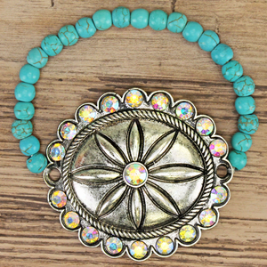 Concho Crystal Stretchable Bracelet - The Blue Attic