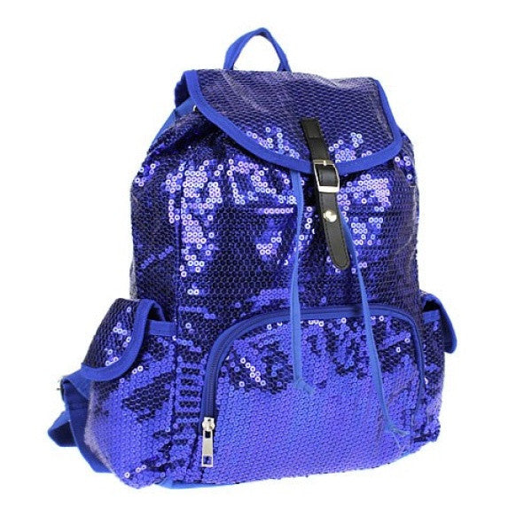 Chevron Sequin Drawstring Backpack - The Blue Attic