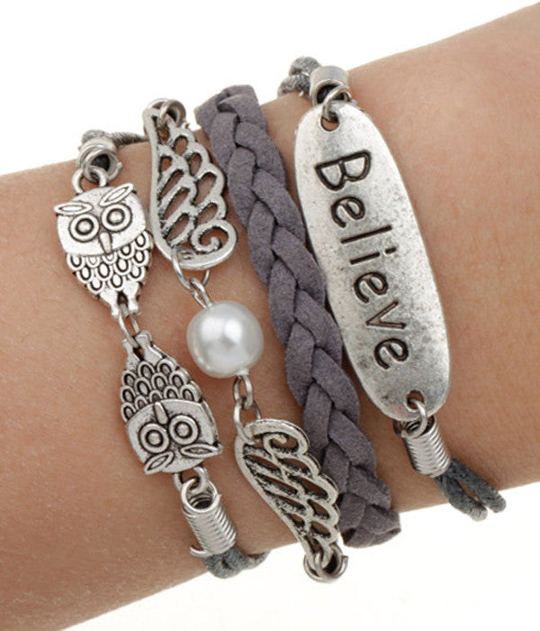 """Believe"" Owl Wrap Bracelet - The Blue Attic"