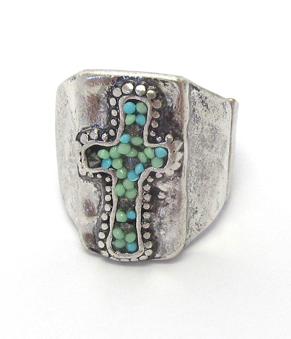 Seed Bead Cross Stretch Ring - The Blue Attic