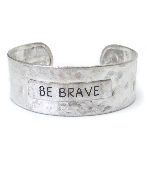 """Be Brave"" Hammered Bangle Bracelet - The Blue Attic"