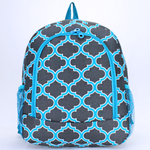 Quatrefoil Zipper Top Backpack - The Blue Attic