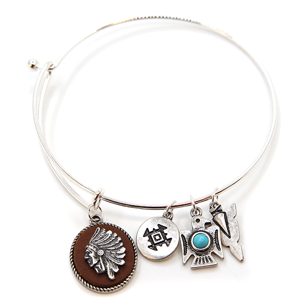 Native Headdress Charm Bracelet