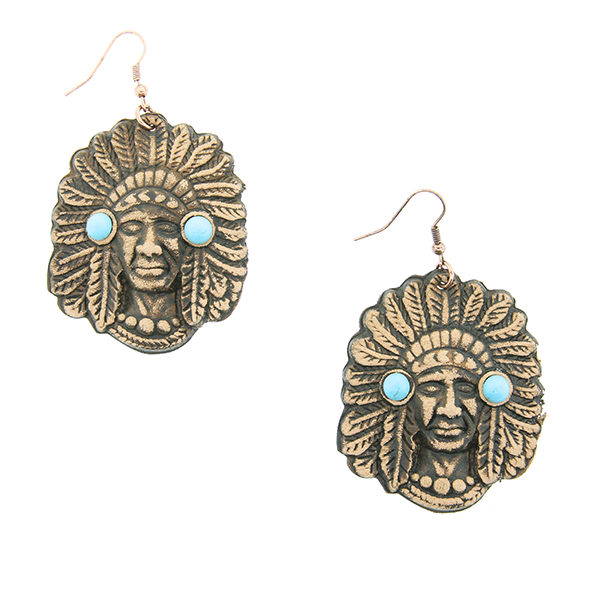Native Chief Stone Earrings