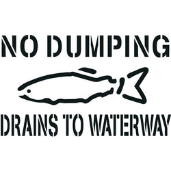 No Dumping Drains to Waterway, Storm Drain Stencil