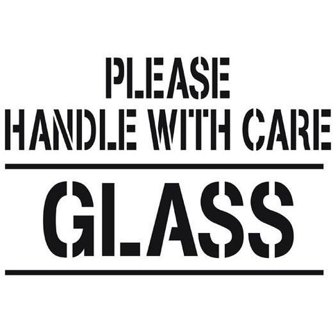 Please Handle with Care Glass Shipping Stencil