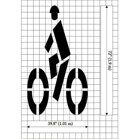 Bike Symbol with rider - Federal Specification MUTCD standard Pavement Marking Stencils
