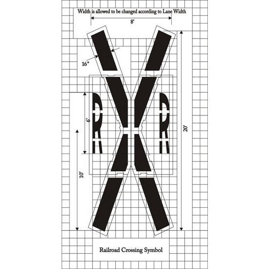 Railroad Crossing - Federal Specification MUTCD standard Pavement Marking Stencils