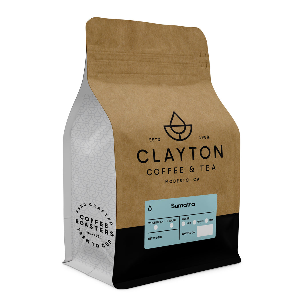 Clayton Coffee & Tea bag of Sumatra Mandheling coffee