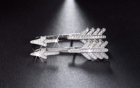 Luxury Silver Arrow Earrings with Crystals - Surpriceme.com
