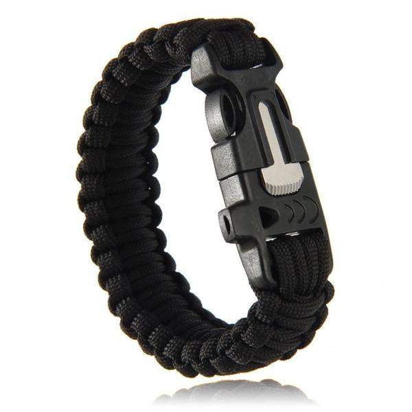 Outdoor Survival Paracord Bracelet with Fire Starter, Scraper and Whistle. - Surpriceme.com