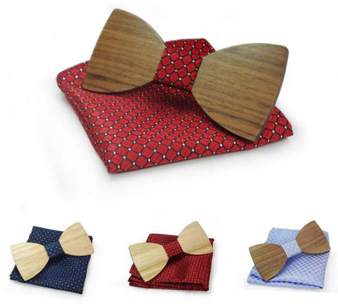 Wooden Bow Ties With Hanky Set - Surpriceme.com