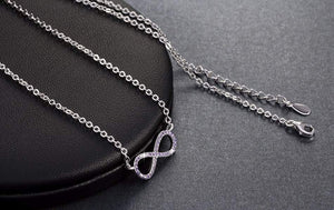 Infinity Pendant Silver Plated Necklace with Full Crystal - Surpriceme.com