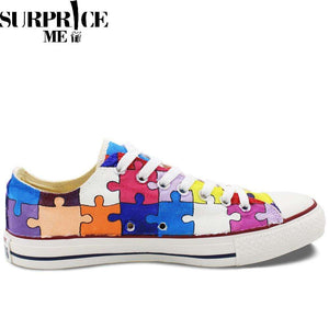 Converse All Star - Hand Painted Puzzle Design Shoes - Surpriceme.com