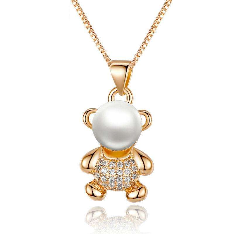 Luxury Pearl Bear Pendant Necklace - Surpriceme.com