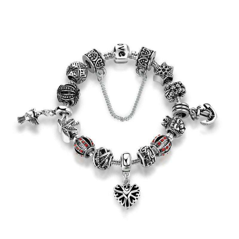 Luxury Silver Charm Bracelet Set - Buy 1 FREE 1 - Surpriceme.com