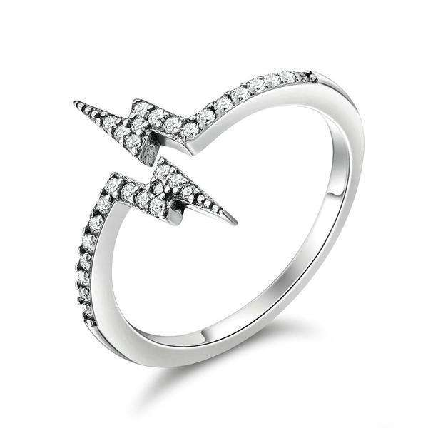 Luxury Silver Lightning Ring With Dazzling Cubic Zirconia - Surpriceme.com