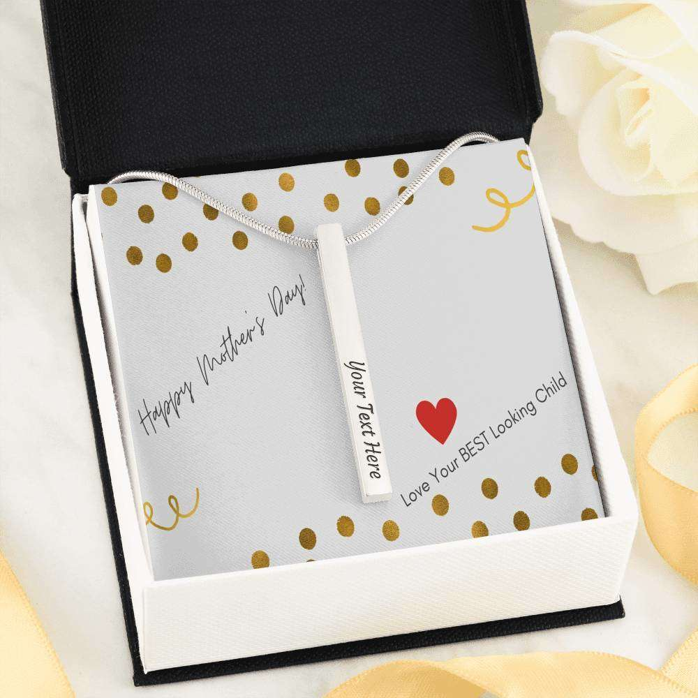 Luxury Vertical Bar Necklace with 2 Sides Engraving and Custom Designed Message Card - Surpriceme.com