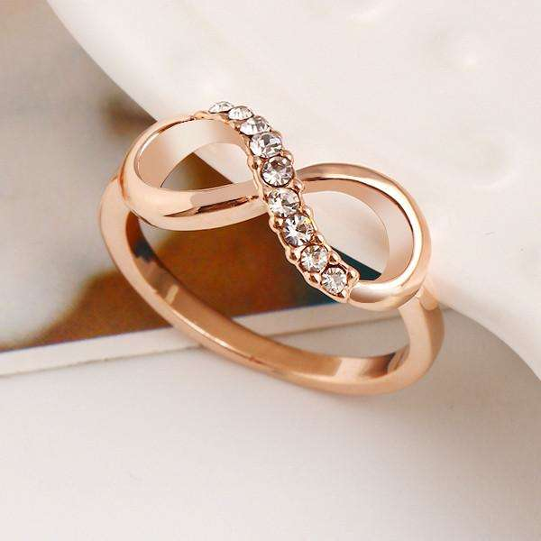 Rose Gold Plated Infinity Ring with Crystal - Surpriceme.com
