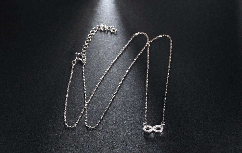 Silver Plated Necklace Infinity Pendant with Clear Crystal Pavé - Surpriceme.com